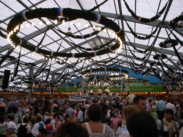 Oktoberfest music: Full tent and brass band