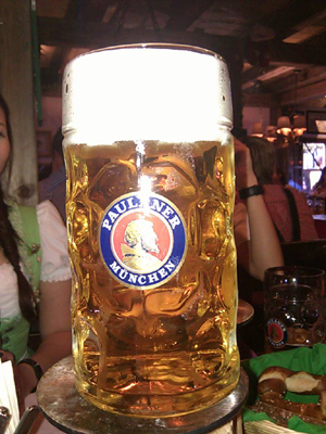 Oktoberfest beer mug containing one liter beer